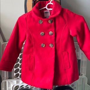 Girls Red Pea Coat- 5T
